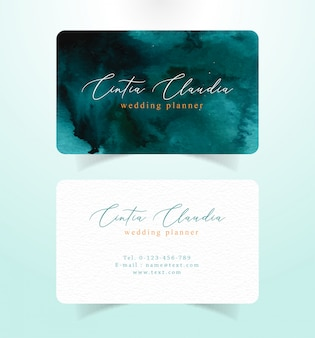 Business card with dark tosca color