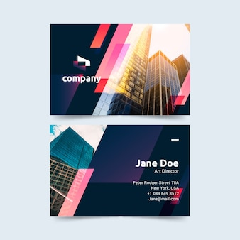 Business card with different shapes and photo