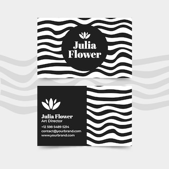 Business card with disorted lines concept