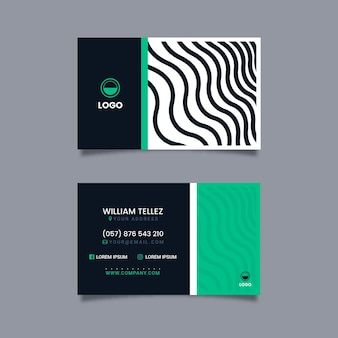 Business card with disorted lines template