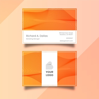 Business card with disorted lines theme