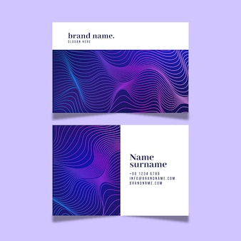 Business card with distorted lines template set