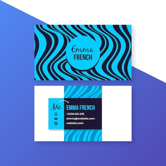 Business card with distorted lines template