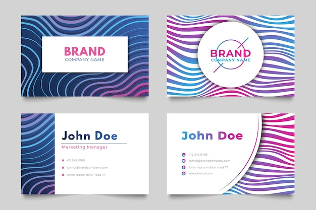 Business card with distorted lines