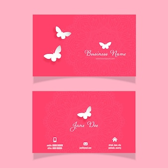 Business card with an elegant butterfly and mandala design