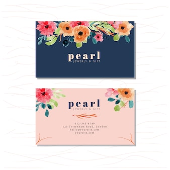 Business card with elegant floral watercolor