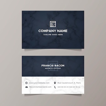 Business card with elegant marble texture