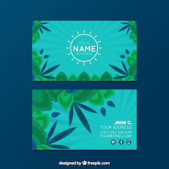 Business card with flat leaves