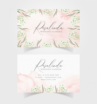Business card with floral background