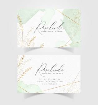 Business card with floral splash watercolor