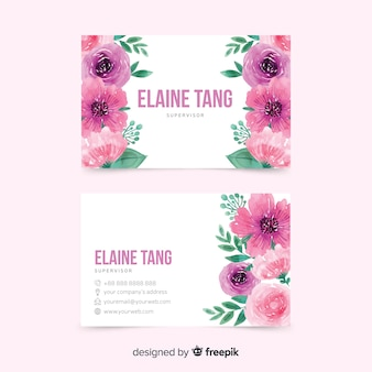 Business card with floral template
