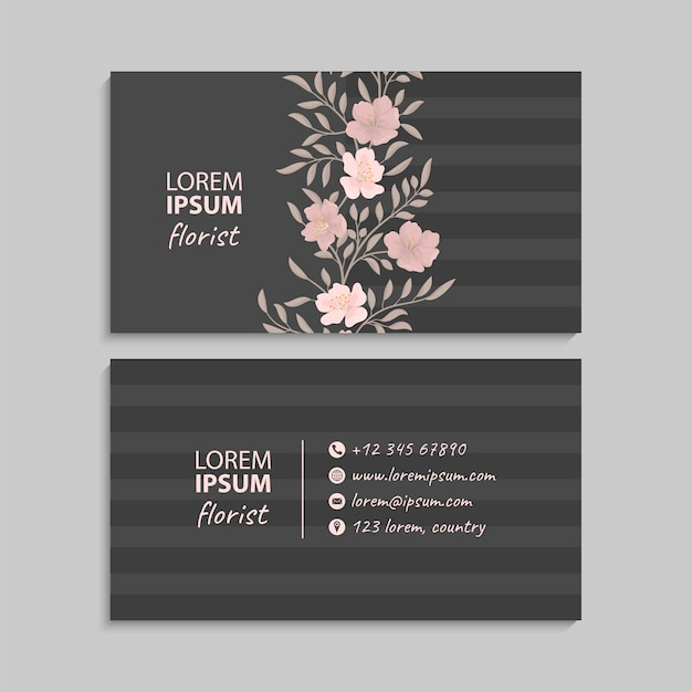 Business card with floral theme.