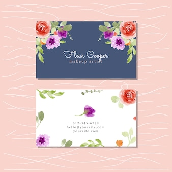 Business card with floral watercolor
