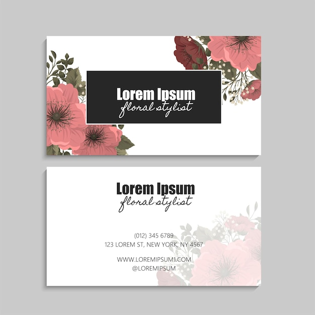 Business card with flowers. front and back side