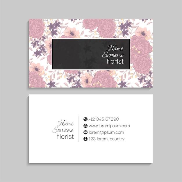파스텔 색상의 꽃 명함