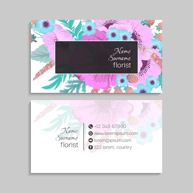 Biglietto da visita con fiori in colori pastello