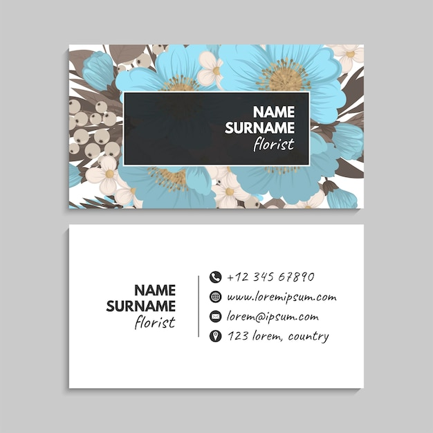 Business card with flowers in pastel colors