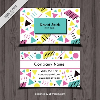 Business card with geometric colorful shapes