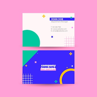 Business card with geometric elements