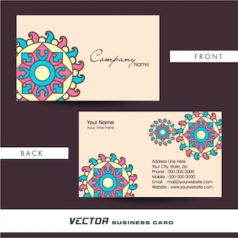 Business card with geometric mandala in pastel colors