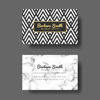 Business card with geometric pattern and marble background