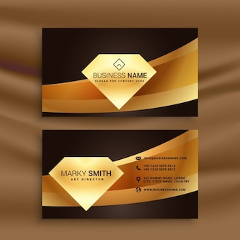 Business card with a golden diamond