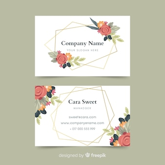 Business card with golden lines template