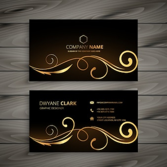 Business card with golden ornaments