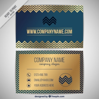 Business card with golden zigzag lines