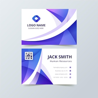 Business card with gradient abstract shapes