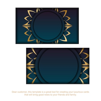 Business card with gradient blue color with abstract gold ornament for your business.