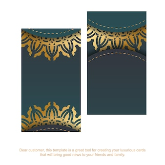 Business card with a gradient of green color with a mandala gold ornament for your contacts.