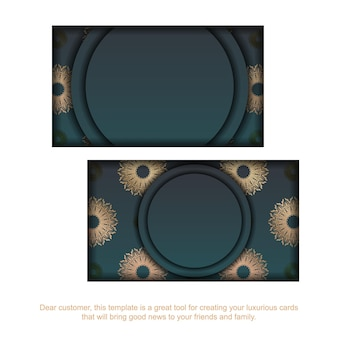 Business card with gradient green color with mandala gold pattern for your business.