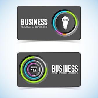 Визитная карточка с серыми кругами, красочная окантовка значка лампочки и процент изолированы