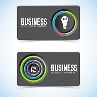 Business card with gray circles colorful edging bulb icon and percentage isolated