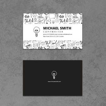 Business card with a hand drawn bulb
