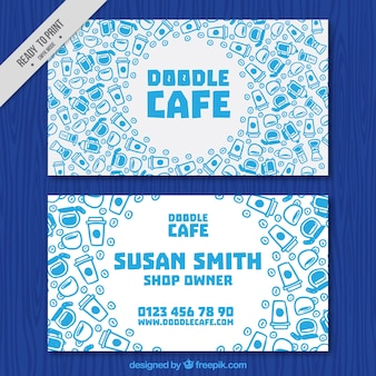 Business card with hand-drawn coffee items