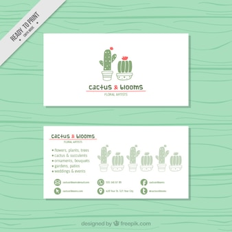 Business card with hand drawn cute cactus