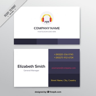 Business card with headphones for a music studio