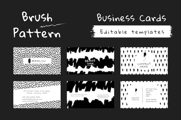 Business card with ink brush pattern set