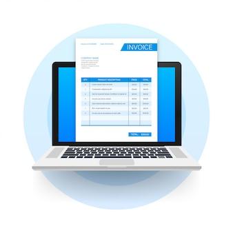 ノートパソコンの請求書と名刺。カスタマーサービスのコンセプト。オンライン支払い。納税。請求書テンプレート。ストックイラスト。