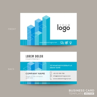Business card with isometric shapes