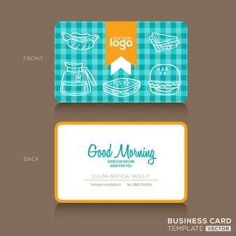 Business card with kitchen elements