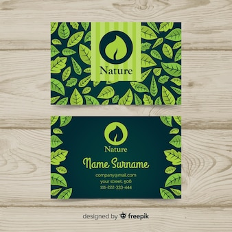 Business card with leaves design