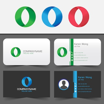 Business card with letter o logo sets
