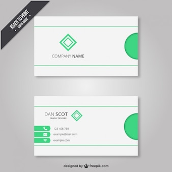 Business card with light green elements