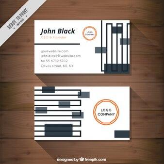 Визитная карточка с линиями и прямоугольниками