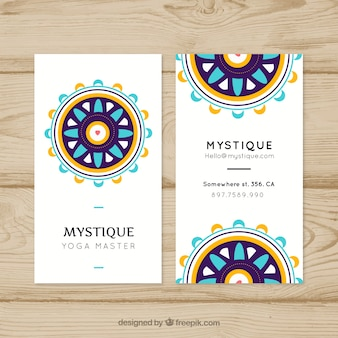 Business card with mandala in flat design