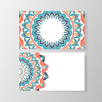Business card with mandala floral pattern. creative template, phone and address, number and email. vector illustration