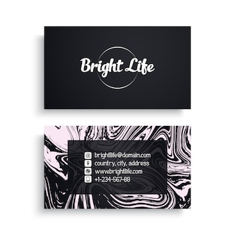 Business card with marble texture